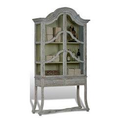 "Sarreid Ltd - Glass Cabinet by BSEID - This is a true example of blending rustic with elegant. Exquisite lines beautifully frame three sides of glass allowing your display to receive full attention. The flared legs with small ball feet are connected with an ""x"" stretcher, adding tasteful simplicity to the lower portion. Artfully distressed in a matte finish. (SAR) 37"" wide x 22"" deep x 76"" high"