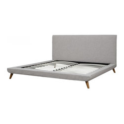 TOV Furniture - Nixon Platform Bed | Beige Linen, Queen - Features: