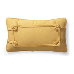 Grandin Road - Knotted Indoor Lumbar Pillow - Tailored from richly textured, 100% cotton ottoman fabric with double knots at each corner interconnected by thick cording. Comfortable polyester insert included. Features a hidden zipper for a clean, tailored look. Conveniently machine washable. Other pillows fall flat compared to the dimensional beauty of our Knotted Indoor Lumbar Pillow. These plush pillows are a quick way to tie up a new look without a lot of expense or effort. . .  . . Imported.