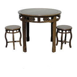 Golden Lotus - Chinese Chicken Feather Wood Round Table Set / 3 Pcs - This round table set is made of very nice chicken feather wood (AKA Ji Chi Wood). The chicken feather wood is famous for its chicken feather like natural wood vein.