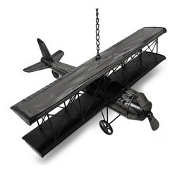 Zeckos - Raw Metal Finish Metal Biplane Airplane Metal Art Statue - Made of metal, this 21 inch wide biplane model has a polyurethane coated raw metal finish that gives it ta great Industrial look. It makes a great gift for people who love to fly. The plane features wonderful detail, from the braces between the wings to the propeller that actually turns. It is meant to be hung from the ceiling with the included metal chain, but can also be displayed on large tables. It measures 21 inches long, 9 inches high, with a 21 1/2 inch wingspan.
