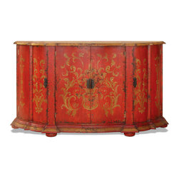 Ashley Buffet, Red Baroque with Golden Scrolls - Ashley Buffet, Red Baroque with Golden Scrolls