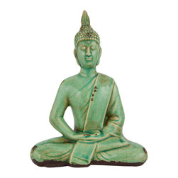 "Oriental Furniture - 9"" Thai Sitting Buddha Statue - Featuring an antiqued finish, this lovely Thai statue features the Buddha wholly absorbed in meditation. Eyes closed in sublime contentment, legs crossed in the single lotus position, hands folded in his lap, this statue evokes peace and contemplation in the viewer. Its elegant green glaze is beautiful to behold, and it is the perfect size for display on a shelf or table. Conveying a sense of serenity and contentment, this statue is the perfect gift for a loved one."