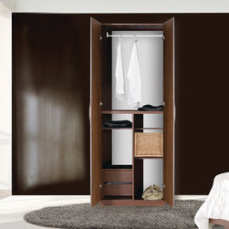 Designer Wardrobe Closet w/ 2 Doors, Storage Compartments, Shelves and 2 Drawers - Description: