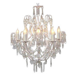 "The Gallery - Wrought Iron Crystal Chandelier Chandeliers Lighting H27"" x W21"" SWAG PLUG IN... - 100% Crystal Wrought Iron Chandelier. A Great European Tradition. Nothing is quite as elegant as the fine crystal chandeliers that gave sparkle to brilliant evenings at palaces and manor houses across Europe. This beautiful chandelier from the Versailles Collection has 5 lights and is decorated and draped with 100% crystal that capture and reflect the light of the candle bulbs. The frame is Wrought Iron, adding the finishing touch to a wonderful fixture. The timeless elegance of this chandelier is sure to lend a special atmosphere anywhere its placed! SIZE: H 27"" W 21"" 5 LIGHTS. Lightbulbs not included.**FULL ASSEMBLY IS REQUIRED**. THIS ITEM COMES WITH A SWAG PLUG-IN KIT , 14 FEET OF HANGING CHAIN AND WIRE"