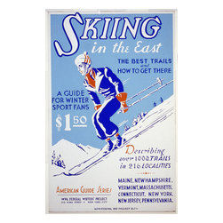Custom Photo Factory - Skiing in the East Vintage Poster Canvas Wall Art - Skiing in the East Vintage Poster  Size: 20 Inches x 30 Inches . Ready to Hang on 1.5 Inch Thick Wooden Frame. 30 Day Money Back Guarantee. Made in America-Los Angeles, CA. High Quality, Archival Museum Grade Canvas. Will last 150 Plus Years Without Fading. High quality canvas art print using archival inks and museum grade canvas. Archival quality canvas print will last over 150 years without fading. Canvas reproduction comes in different sizes. Gallery-wrapped style: the entire print is wrapped around 1.5 inch thick wooden frame. We use the highest quality pine wood available. By purchasing this canvas art photo, you agree it's for personal use only and it's not for republication, re-transmission, reproduction or other use.