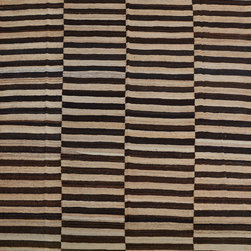 """ALRUG - Handmade Multi-colored Oriental Kilim  8' x 9' 11"""" (ft) - This Afghan Kilim design rug is hand-knotted with Wool on Wool."""