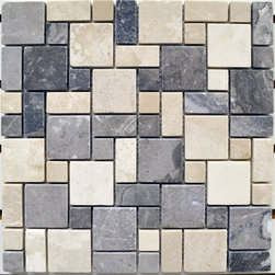 STONE TILE US - Stonetileus 10 pieces (10 Sq.ft) of Mini French Pattern Silver Botticino - Mini French Pattern - Silver - Botticino Mixture of Silver & botticino marble, excellent for kitchen backsplash, bathroom, shower wall or any other special areas. You can create seamless surface with this mini french pattern mosaic, for easy intallation back side covered with mesh. You can use grout or thinset. Sealing is not necessary but recommended to all natural stone tiles.Free shipping.. Set of 10 pieces, Covers 10 sq.ft.