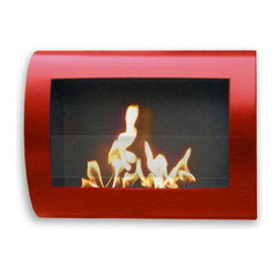 Anywhere Fireplace - Chelsea Wall Mounted Ventless Bio Ethanol Fireplace, Red - The wall mounted, gracefully curved Anywhere Fireplace Chelsea Indoor Wall Mount Fireplace in Red bears a sleek, contemporary design that will make a statement as subtle as it is bold. Born of ingenuity and exact lines, this ethanol burner can be hung anywhere - living room, bedroom, family room, and dining room alike; No need for a vent or flue. This fireplace only emits water vapor and carbon dioxide. No Smell, No Smoke, No Fumes! Stepping off the hearth and out of the box, this ethanol burning fireplace comes with mounting hardware, making it an easy installation and an even easier appliance. With the simple addition of bio-ethanol fuel, prepare to sit back and enjoy the warmth of real, renewable, bio-flames.