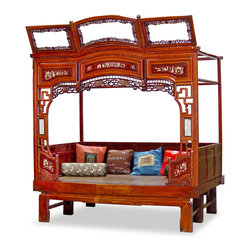 "China Furniture and Arts - Antique Ci-Xi Bed - In ancient China the bed was the center of women's activities. The comforter was rolled away during the day and a small table was placed in the middle of the bed for women to sit around chatting, drinking tea and doing their needle works. The front of the exquisite frame is designed in all shapes with some resemble the traditional garden gate. Originated in the beautiful southern city Ning Bo, the framed bed is now a favorite item of contemporary interior designer. Carved of solid wood, this bed will add an exotic flavor to your home. Interior measurements are 78""Lx49""Wx62""H. 4""Thick foam pad can be purchased at $250.00. Displayed pillows not included. Assembly required (instructions will be provided)."