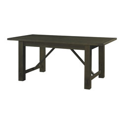"""Powell - Powell Autumn Falls Rectangular Dining Table X-714-648 - Oversized and rough hewn basic rustic table conveys a simple practical country lifestyle. The """"Smoke"""" finish table features solid Pine oversized legs with rough notches and plank style top, with mortise and tenon style details on the cross braces. Table is further anchored by aircraft and marine grade stainless steel finish turnbuckles and oversized hardware. Some assembly required."""
