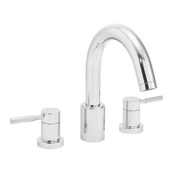 Speakman - Speakman Neo Collection Roman Tub Faucet, Polished Chrome - Speakman's Neo two- handle Roman Tub faucet completes the bathroom by adding bold style to a sleek look. The Neo brings forth a modern design of smooth details and sharp edges. Signifying simplistic, yet impactful, design; the Neo bathroom faucet collection pairs with the Neo Showerheads and other bathroom accessories to identify modern luxury in any bathroom.
