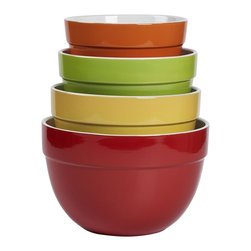Tabletops Unlimited - 4 Piece Classic Multi Mixing Bowl - Dishwasher Safe.  Microwave Safe. Material: Stoneware . 9.375 in. Bowl. 8.375 in. Bowl. 7.5 in. Bowl. 6.875 in. BowlThis Classic 5-piece Mixing Bowl Set by Tabletops Gallery brings superior style, utility and versatility to your counter top. Its simple yet elegant look and long lasting quality make the Classic Collection a kitchen favorite.