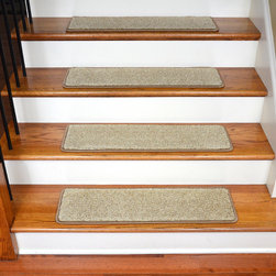 """Dean Flooring Company - Dean Stainmaster Nylon Carpet Stair Treads 30""""x9"""" (15) Vellum Beige Tweed - Quality, Stylish Ultra Premium Stair Gripper Non-slip Pet Friendly Stainmaster Super Soft Carpet Stair Treads by Dean Flooring Company. Extend the life of your high traffic hardwood stairs. Reduce slips/increase traction. Cut down on track-in dirt. Great for pets and pet owners. Made in the USA from quality, long lasting stain resistant super soft 39 oz. Stainmaster carpeting with non-slip padded foam backing. Stands up great to high traffic. Resistant to abrasive wear, food and beverage stains, pet urine stains, static shock, and soiling. Luxurious feel. A fresh new look for your staircase. Do-it-yourself installation is quick and easy with our unique non-slip backing. Simply place your stair tread rugs on your staircase and go. No tapes, adhesives, staples, glue, or Velcro needed. And rest assured, they won't move and they won't damage your hardwood either. They are also simple and easy to remove as well with no sticky residue left behind. Each tread is finished with attractive color matching yarn. No bulky fastening strips. You may remove your treads for cleaning and re-attach them when you are done. This set includes 15 pieces. Each stair tread rug measures approximately 30"""" x 9"""". Add a touch of warmth and style to your stairs today with new stair treads from Dean Flooring Company! We make our own stair treads at Dean Flooring Company and our products are not available from anyone else. Amazing non-skid padded backing prevents movement, adds cushion. Helps prevent slips on your hardwood stairs. Protects your hardwood stairs from wear and tear. Helps your dog easily navigate your slippery staircase. This set includes 15 pieces measuring approximately 30"""" x 9"""" each. Made 100% in the USA exclusively by Dean Flooring Company. Stain resistant, quality, long-lasting premium soft nylon carpet with cushioned non-slip foam backing. Edges are finished with attractive color """