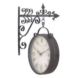 Benzara - Metal Outdoor Double Clock - Metal Outdoor Double Clock is an excellent anytime low priced wall decor upgrade option that is in. H demand modern age low budget home interior fashion. This double sided clock is beautifully sculptured and designed by the experienced artists and technicians.
