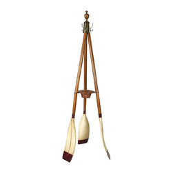 Authentic Models - Oxford Varsity Oar Coat Stand - Three oars make up a sturdy and attractive coat stand. Brass hardware, turned finial, rattan key & change basket. Practical, attractive, colorful. Assembly required. Made of Wood, and Brass. Brown, Ivory and Red Finish. Assembly Instructions. 27 in. W x 27 in. D x 73.8 in. H