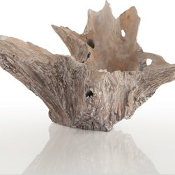 Nantucket Driftwood Bowl - Naturalistic, abstract drama abounds in the swooping shape of the Nantucket Driftwood Bowl.  Its hue is the unmistakable soft and silky gray of wind-weathered, ocean-tossed wood, giving satin sheen to the rugged, craggy outlines of the large designer vessel.  Heap lovely objects in the smooth burled center of this bowl to create a haphazard centerpiece to a decorator vignette, or let its sculptural uneven outlines stand alone to bring the glory of knotted wood to your surroundings.