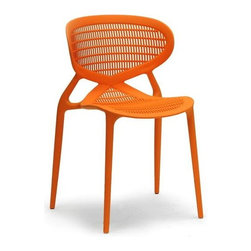 Baxton Studio - Dining Chair in Orange - Set of 2 - Set of 2. Contemporary style. Best for outdoor use. Stackable and striking design. Non-marking feet. Vivid, fun and comfortable. Wipe with damp cloth. Made from single-molded polypropylene. No assembly required. Seat: 16.87 in. W x 16.75 in. D x 19 in. H. Overall: 22 in. W x 20.25 in. D x 32.13 in. H (20 lbs.)A pop of color is not only statement-making but the perfect budget-friendly way to instantly liven up your living space.