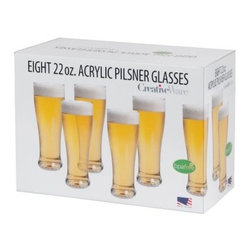 Creative Bath Pilsner Beer Glass Set - 8 Pack - When it comes to tasting parties, beer is the new wine - and this Creative Bath Pilsner Beer Glass Set - 8 Pack helps you host. Crafted with durable clear acrylic material that can withstand bumps and drops, this set of eight classically-shaped pilsner glasses is ideal for casual or outdoor gatherings. Hand wash.About Creative BathFor over 30 years, Creative Bath has developed innovative, stylish bathroom decor items. They have grown exponentially, and now you can find their products in major retail and online stores around the world. From shower curtains to soap dishes and everything in between, Creative Bath brings you high quality items to enhance your lifestyle.
