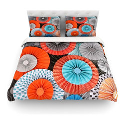 """Kess InHouse - Heidi Jennings """"Breaking Free"""" Orange Blue Cotton Duvet Cover (Queen, 88"""" x 88"""") - Rest in comfort among this artistically inclined cotton blend duvet cover. This duvet cover is as light as a feather! You will be sure to be the envy of all of your guests with this aesthetically pleasing duvet. We highly recommend washing this as many times as you like as this material will not fade or lose comfort. Cotton blended, this duvet cover is not only beautiful and artistic but can be used year round with a duvet insert! Add our cotton shams to make your bed complete and looking stylish and artistic! Pillowcases not included."""