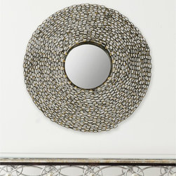 Safavieh - Safavieh Jeweled Chain Natural Mirror - This contemporary round wall mirror is sure to be a conversation starter. The hand-wrought iron frame in a natural color lends an edgy urban tone to a room. The mirror can function as the focal point of a living room or as a unique bathroom mirror.
