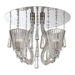 """Eurofase - Contemporary Corato Collection 17 3/4"""" Wide Clear Crystal Ceiling Light - Make a bold statement with this glamorous ceiling light that features a gleaming mirrored canopy. Hand-blown glass arms support clear crystal shades while strands of crystals fall elegantly and offer additional shine. Completely chic this stunning design adds a contemporary look. From the Corato Collection by Eurofase Lighting. Hand-blown glass arms. Mirrored finish. Clear crystal shades. Crystal strands. Includes four 40 watt G9 bulbs. Rated for damp locations. 17 3/4"""" wide. 14 1/2"""" high.   Hand-blown glass arms.  Mirrored finish.  Clear crystal shades.  Crystal strands.  Includes four 40 watt G9 bulbs.  Rated for damp locations.  17 3/4"""" wide.  14 1/2"""" high."""