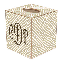 Marye Kelley - Chelsea Fret Tan & White Personalized Tissue Box Cover - The Chelsea tissue box cover's custom design exudes modern glam. Featuring a personalized monogram, this gold-trimmed accessory features tan and white hues in a geometric fretwork print. Available in papier mache, tin and wood; Choose font style; Enter initial, name or monogram exactly as it should appear; Made in the USA