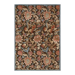 """Nourison - Nourison Graphic Illusions GIL06 2'3"""" x 3'9"""" Brown Area Rug 13275 - A meandering floral, leaf and vine design emanates a casual feel that is still somehow sophisticated. In hazy hues of brown, white, grey, beige and ivory, this gorgeous area rug's superb hand carving and high-low loop pile construction puts the lap of luxury directly at your feet."""