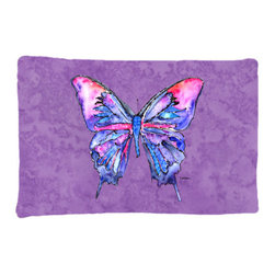Caroline's Treasures - Butterfly on Purple Fabric Standard Pillowcase Moisture Wicking Material - Standard White on back with artwork on the front of the pillowcase, 20.5 in w x 30 in. Nice jersy knit Moisture wicking material that wicks the moisture away from the head like a sports fabric (similar to Nike or Under Armour), breathable performance fabric makes for a nice sleeping experience and shows quality. Wash cold and dry medium. Fabric even gets softer as you wash it. No ironing required.