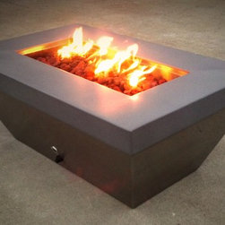 """48"""" X 30"""" Stainless Rectangular - Brushed Stainless Steel Fire Pit 47.5"""" W X 30""""D X 18""""H Material: 16 gauge 304 Stainless Steel. Top portion with Powder Coat Finish shown. Includes: 14 Gauge Stainless Burner Plate. 24"""" single Burner."""