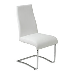 Rooney Low Back Side Chair (Set Of 2)-Wht/Chrm - Sophisticated and versatile, this shapely seat is as at home as a side chair as it is around your dining table. With soft clean lines and a soft foam seat, all upholstered in soft leatherette, it's comfortable (and stylish) anywhere.