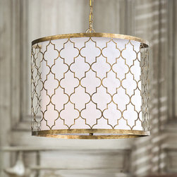 Frontgate - Metal Patterened Chandelier - Moroccan-inspired quatrefoil motif. Textured brass frame. Ideal for transitional and modern living spaces. White drum-style styrene shade resists wrinkling from heat. Requires three 60 watt bulbs (not included). The Moroccan-inspired Metal Patterned Chandelier elevates exotic lighting accessories to new heights. The decorative brass motif frame and edging encase a drum-style shade that illuminates tables and transitional living spaces in subtle radiance.  .  .  .  .  . Crafted by Regina Andrew Designs . Clean with soft cloth . Imported.