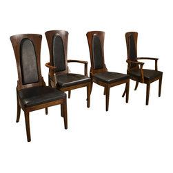 Caldwell - Consigned Mid Century Caldwell Walnut High Back Dining Chairs (Set of 4) - • Mid Century Modern | Danish |Retro