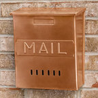 "Vertical ""MAIL"" Wall Mount Copper Mailbox - Antique Copper - The classic design of this wall mount mailbox is great for many styles of homes. The mailbox features a large incoming mail compartment, a hinged overlapping lid and a ""MAIL"" imprint on the front."