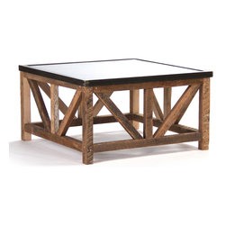 Kathy Kuo Home - Regan Zinc Top Chunky Reclaimed Wood Rustic Coffee Table - Look no farther for a rough and rugged coffee table - this square, industrial gem is tough enough for daily use by boisterous friends and family. The Regan table is built to last with reclaimed wood and a textured zinc top. Guests will feel immediately at ease gathering around this versatile piece in your modern loft space and celebrating late into the evening.  Proudly made in the USA.