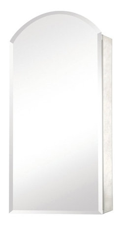 Pegasus - Arch Medicine Cabinet - SP4579 - Manufacturer SKU: SP4579. Includes side mirror and hanging kit. Adjustable glass shelves. Rust-free aluminum case with beveled mirror. Self-closing hinges open upto 110 degree. Recess and surface mount. 15 in. W x 5 in. D x 30 in. H (25.6 lbs.)