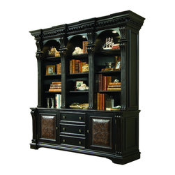 "Hooker Furniture - Telluride Bookcase Hutch - White glove, in-home delivery included!  Bookcase Hutch only.  Base sold separately.  Telluride's black paint finish with heavy reddish brown rub-through, carved leather panels and nail head trim give this home office furniture a rich masculine look.  Canister light in each section operated by one touch switch, one adjustable wood-framed glass shelf and two wood shelves in each section.  Stained top.  Openings - Clear: 18 1/4"" w x 13 1/4"" d x 47 3/4"" h  Openings - Max: 21 13/16"" w x 13 1/4"" d x 48 3/16"" h"