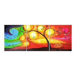 "Fabuart - ""Winds of Change "" - Abstract Tree Oil Artwork - 60 X 24 in - Gallery Wrapped - ART DIMENSION"