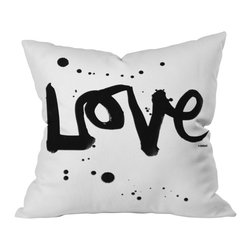 "DENY Designs - Kal Barteski Love 1 Throw Pillow - Louisa May Alcott said, ""Love is a great beautifier."" This decorative throw pillow celebrates the most important ingredient in your home design. The playfully hand-scripted, ink-splattered message has a casual, contemporary feel that gives it warmth in spite of its chic black and white minimalism."