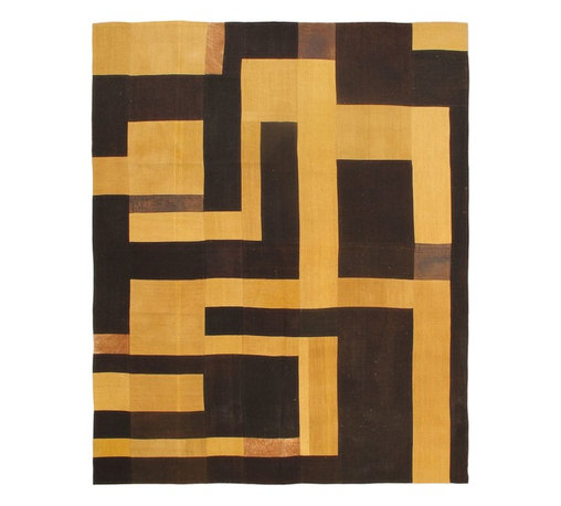 """Torabi Rugs - Flat-weave Bohemian Light Yellow Wool Kilim 6'7"""" x 8'2"""" - This patchwork rug is made of vintage classic kilim pieces which are sewn together to form a truly one of a kind larger rug. This quirky and eclectic piece is painstakingly hand stitched. Light weight, this can also be used as a bedspread or throw. A colorful and updated vision of style, color and texture."""
