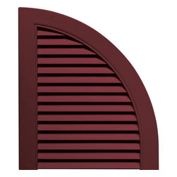 """Builders Edge - Vinyl Louvered Design Quarter Round Tops in W - Provides distinctive styling for standard shutters. Constructed with color molded-through vinyl so they will not scratch, flake, or fade. Durable, maintenance-free U.V. stabilized, deep wood grain texture. Made in the USA. For use with Builders Edge 15"""" Standard Louver Shutters only. 14.5 in. W x 1 in. D x 17 in. H (1.69 lbs.)"""