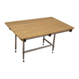 """TEAKWORKS4U - Teakworks4u ADA Compliant Shower Bench with Drop Down Legs, 18""""L x 16""""D x 17""""H - Teakworks4u ADA Compliant Shower Bench With Drop Down Legs has wall mounted seat. All fasteners used in the construction of the ADA shower seats are marine grade stainless steel plus the frames, wall flanges and guide brackets are type 304 18-gauge stainless steel. The drop-down legs on this model are also made of stainless steel and give the seat a weight capacity of 500 pounds when installed."""