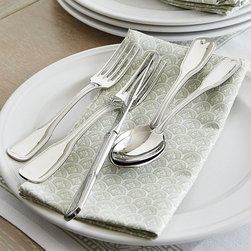 Ballard Designs - Everyday 20-Piece Flatware Set - Classic pattern. Each 20-piece set consists of four 5-piece sets. 5-piece includes Salad Fork, Dinner Fork, Knife, Tablespoon & Teaspoon. 2-piece serving set includes Fork & Spoon. Dishwasher-safe. A style befitting of its name, our Everyday Flatware boasts a casual elegance that fits any occasion, from weeknight dinner with family, to hosting a dinner party for close friends. Crafted of 18/10 stainless steel. Everyday Flatware Features: . . .  . .