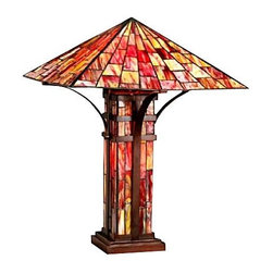 """Warehouse of Tiffany - Warehouse by Tiffany's Mission Double Lite Table Lamp - Tiffany-style Mission Double Lite Table Lamp Handcrafted using the same techniques that were developed by Louis Comfort Tiffany in the early 1900s, this beautiful Tiffany-style piece contains hand-cut pieces of stained glass, each wrapped in fine copper foil. Illuminate your home decor in elegance with this Tiffany style table lamp.Gorgeous lamp contains over 850 pcs of multicolor cut glass.Vibrant lamp is adorned with bronze bands stretching from base to corners of shade. Light up base uses 25-watt bulb (included).Requires two (2) 60-watt bulb (included).Features a pull chain switch. Measures 25"""" high x 25"""" wide."""