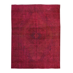 """ALRUG - Handmade Rose Persian Antique Overdyed Rug 9' 8"""" x 12' 8"""" (ft) - This Persian Overdyed design rug is hand-knotted with Wool on Cotton."""