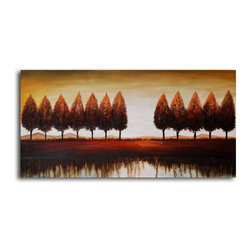 """My Art Outlet - Hand Painted """"Gap in the trees"""" Oil Painting - Size: 20"""" x 40"""" (20"""" x 40""""). Enjoy a 100% Hand Painted Wall Art made with oil paints on canvas stretched over a 1"""" thick wooden frame. The painting is gallery wrapped and ready to hang out of the box. A very stylish addition to any room that is sure to get the attention of guests."""