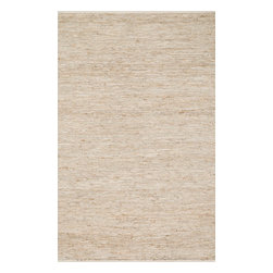"""Loloi Rugs - Loloi Rugs Edge Collection - Ivory, 3'-6"""" x 5'-6"""" - Give your room an all-natural feel with the Edge Collection. These earthy rugs are hand woven in India of alternating strips of leather and jute for a unique tactile feel that your feet will love. Available in four neutral colors, ensuring a seamless addition to any decor."""