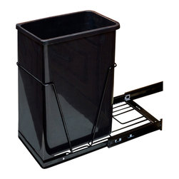 Hardware Resources - 35 or 50 Quart Single Pullout Waste Container System Black - 35 or 50 Quart Single Pullout Waste Container System.  10 1/4 x 22    Full Extension Ball Bearing Slides.   Heavy Duty Black Wire Construction.   35 or 50 qt black polymer trash can sold separately.   Designed for use with 13 gallon tall kitchen trash bags.   Mounts to Floor of Cabinet.  Door Mountable (kit sold separately).  Mounting Hardware and Instructions Included.   For standard 15 cabinets.