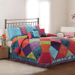 None - Kashmir Gem 3-piece Comforter Set - Vibrant colors come together in this patchwork-style comforter set. Different textures and colors give this comforter and shams a fun look that brightens your bedroom. Its lightweight design and soft fabric are great for use in any season.