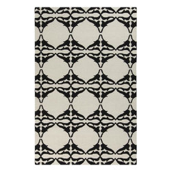 "Surya - Surya Frontier FT-466 3'6"" x 5'6"" White, Jet Black Rug - Frontier Collection features a series of flat-weave reversible designs with tribal and casual themes. Hand woven in India, these rugs are produced from the finest wool with unique patterns designed to enrich any room. Fashionable, durable and affordable, these styles are sure to update any decor."